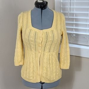 Christopher & Banks Cardigan Sweater Cable Knit